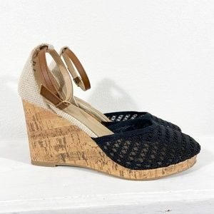 NIB Black Mesh Wedges with Ankle Strap Size 8